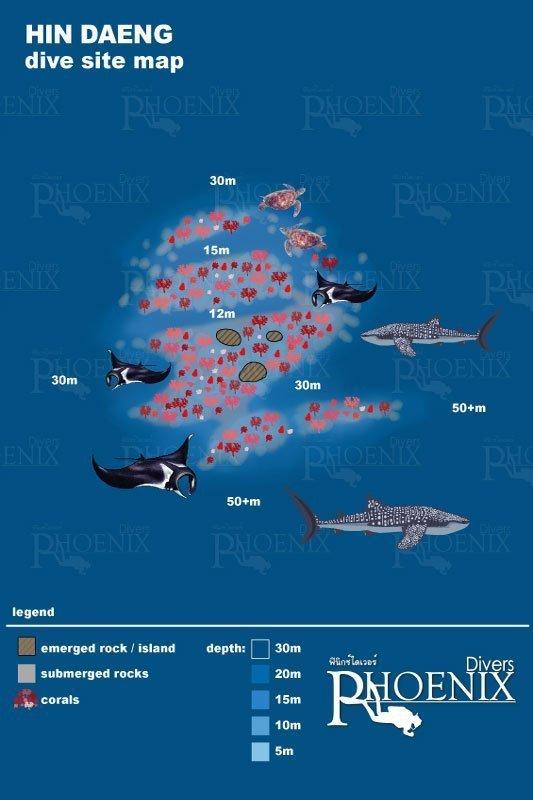 hin daeng diving map