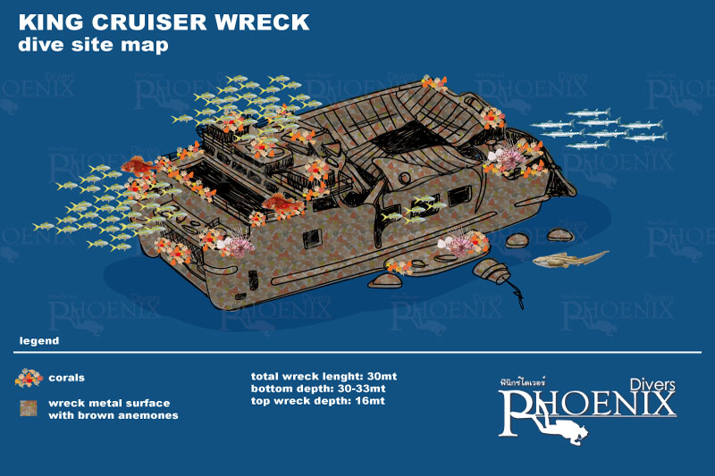 King Cruiser wreck diving site map