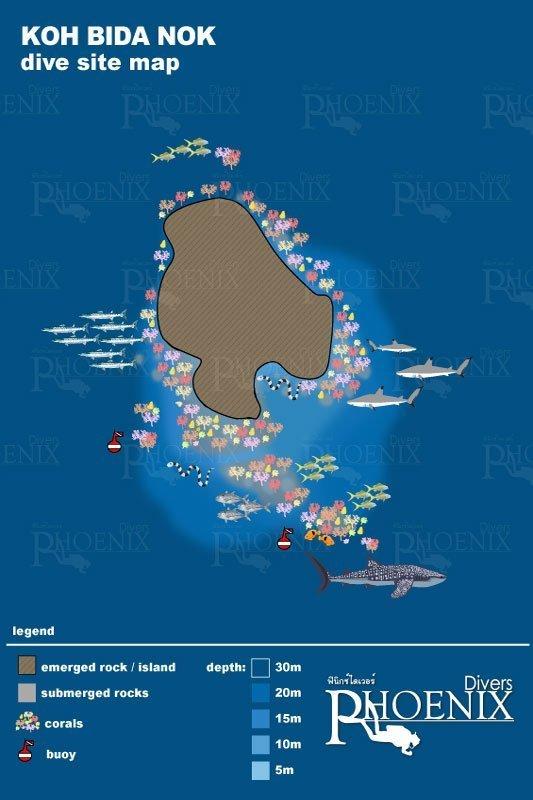 Koh Bida Nok dive points map